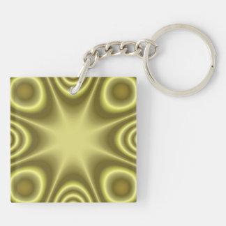 Modelo moderno amarillo llavero cuadrado acrílico a doble cara