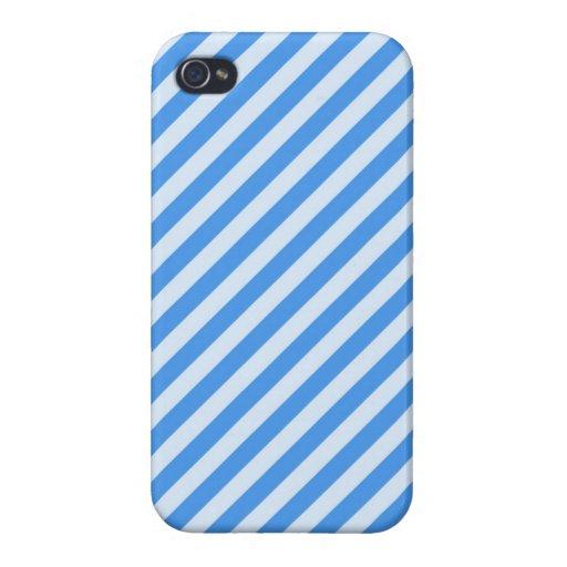 Modelo moderno azul y blanco de moda de las rayas iPhone 4 carcasas