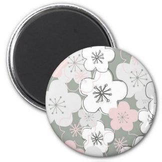 Modelo moderno de la flor de cerezo japonesa imán redondo 5 cm