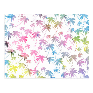 Modelo moderno de la palmera de la acuarela rosada tarjeta postal