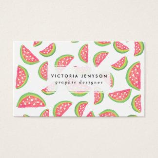 Modelo moderno de las frutas de la sandía de la tarjeta de negocios