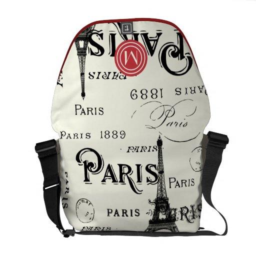 Modelo moderno de París del vintage rojo del monog Bolsas De Mensajería
