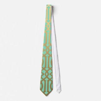 Modelo moderno del enrejado del oro y de la menta corbata