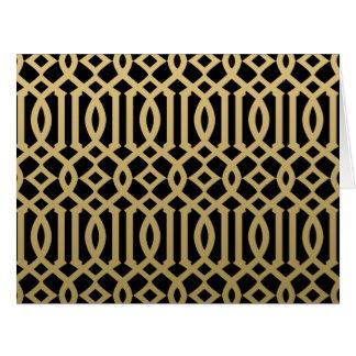 Modelo moderno del oro y del enrejado del negro tarjeta de felicitación grande