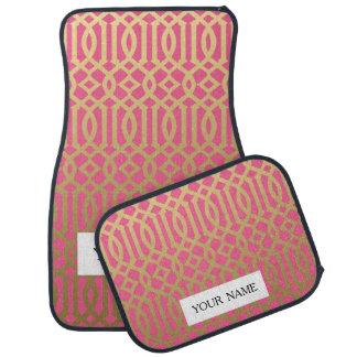 Modelo moderno del oro y del enrejado del rosa alfombrilla de auto