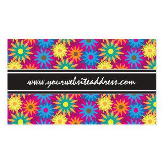 modelo moderno floral colorido del flower power de tarjetas de visita
