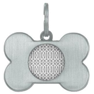 Modelo moderno gris y blanco del enrejado placa de nombre de mascota