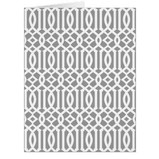 Modelo moderno gris y blanco del enrejado tarjeta de felicitación grande