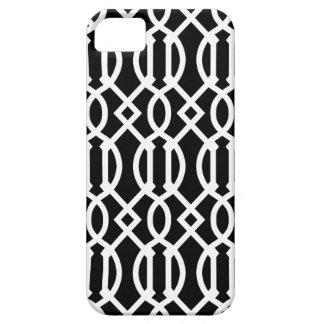 Modelo moderno negro y blanco del enrejado funda para iPhone SE/5/5s