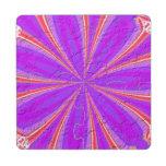 Modelo moderno púrpura y rosado posavasos de puzzle