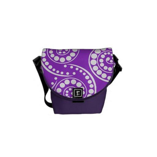 Modelo moderno retro púrpura bolsa messenger