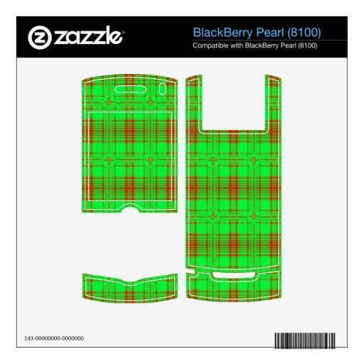 modelo moderno verde rojo de la tela escocesa skins para BlackBerry pearl