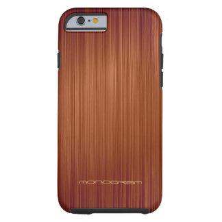 Modelo-Monograma de madera rojo de la textura de Funda De iPhone 6 Tough
