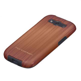 Modelo-Monograma de madera rojo de la textura de Galaxy SIII Fundas