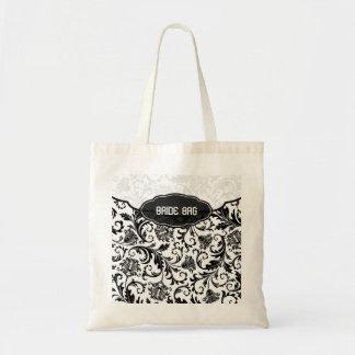 Modelo-Monograma floral negro y blanco del damasco Bolsa Tela Barata