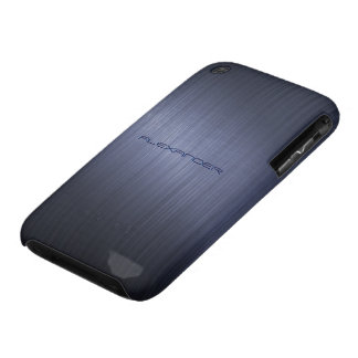 Modelo-Monograma metálico azul silenciado de la iPhone 3 Fundas