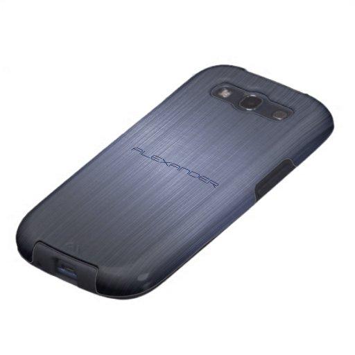Modelo-Monograma metálico azul silenciado de la Galaxy S3 Carcasas