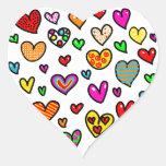 Modelo multi caprichoso del corazón del amor del calcomanías de corazones