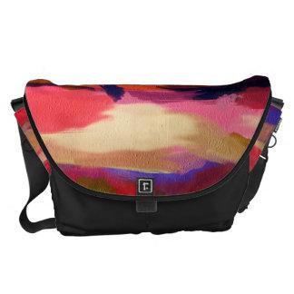 Modelo multicolor abstracto de la acuarela bolsas messenger