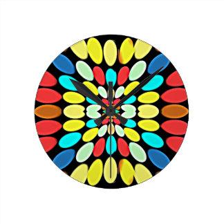 Modelo multicolor abstracto de los pétalos relojes de pared