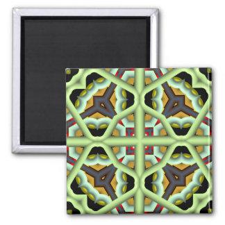 Modelo multicolor abstracto del caleidoscopio imán cuadrado