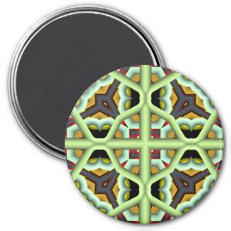 Modelo multicolor abstracto del caleidoscopio imán redondo 7 cm