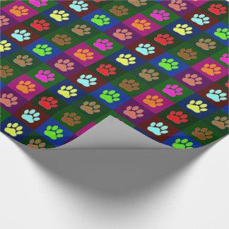 Modelo multicolor de la impresión de la pata del papel de regalo