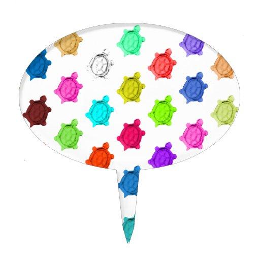Modelo multicolor de la tortuga decoración de tarta