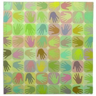 Modelo multicolor de las manos servilletas imprimidas