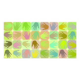 Modelo multicolor de las manos tarjetas fotograficas personalizadas