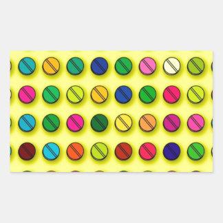 Modelo multicolor de las píldoras pegatina rectangular