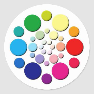 Modelo multicolor de los círculos pegatina redonda