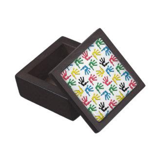 Modelo multicolor de los handprints caja de joyas de calidad