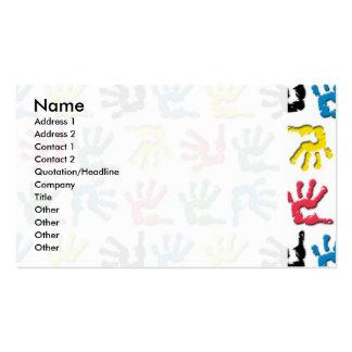 Modelo multicolor de los handprints tarjetas de visita