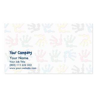 Modelo multicolor de los handprints plantillas de tarjetas personales