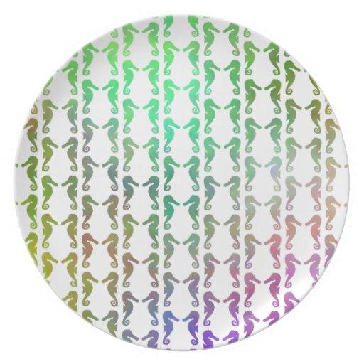Modelo multicolor del Seahorse Platos Para Fiestas