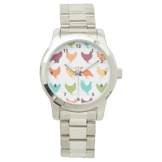 Modelo multicolor enrrollado del pollo relojes de pulsera