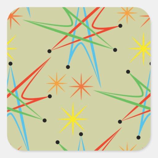 Modelo multicolor retro atómico de Starburst Calcomanía Cuadrada Personalizada