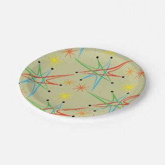 Modelo multicolor retro atómico de Starburst Plato De Papel De 7 Pulgadas