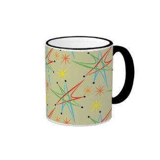 Modelo multicolor retro atómico de Starburst Taza De Dos Colores