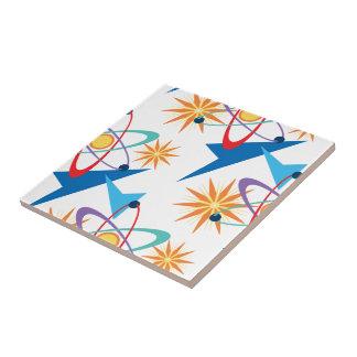 Modelo multicolor retro de la era espacial azulejo cuadrado pequeño