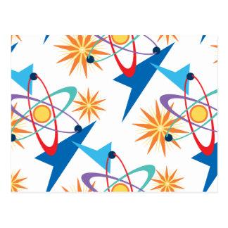 Modelo multicolor retro de la era espacial tarjetas postales