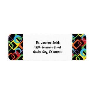 Modelo multicolor retro geométrico etiquetas de remite