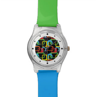 Modelo multicolor retro geométrico reloj