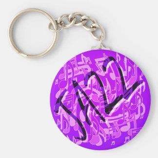 Modelo musical violeta púrpura de la música de llavero redondo tipo pin