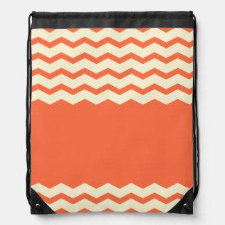 modelo-naranja y crema clásicos del zigzag del gal mochila