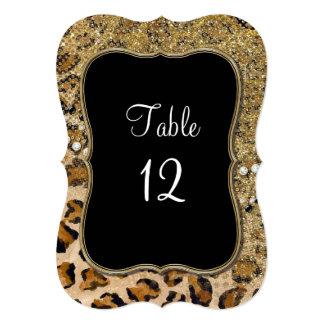 """Modelo natural del leopardo del brillo del oro de invitación 5"""" x 7"""""""