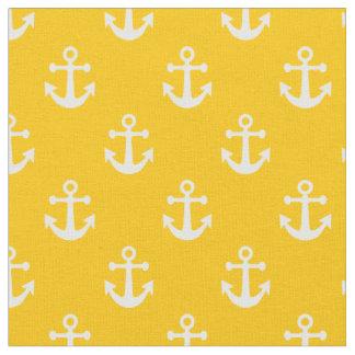 Modelo náutico amarillo y blanco de las anclas telas