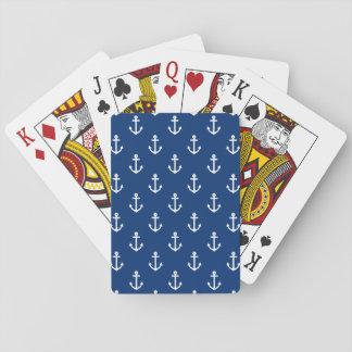Modelo náutico del ancla de los azules marinos baraja de cartas