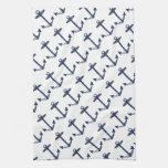 Modelo náutico del ancla de los azules marinos toalla de cocina